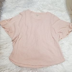 Madewell Knit Ruffle Batwing Top XL Pink